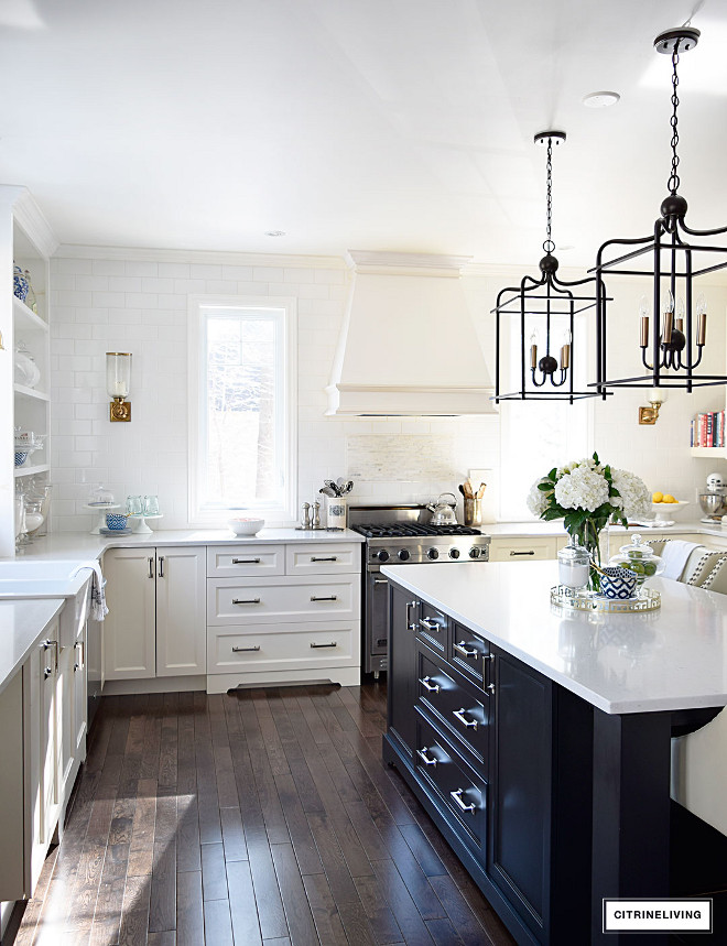 kitchen-black-island-ivory-cabinets-kitchen-black-island-ivory-cabinets-kitchen-black-island-ivory-cabinets-kitchen-black-island-ivory-cabinets #kitchen #blackisland #ivorycabinets Beautiful Homes of Instagram @citrineliving Home Bunch