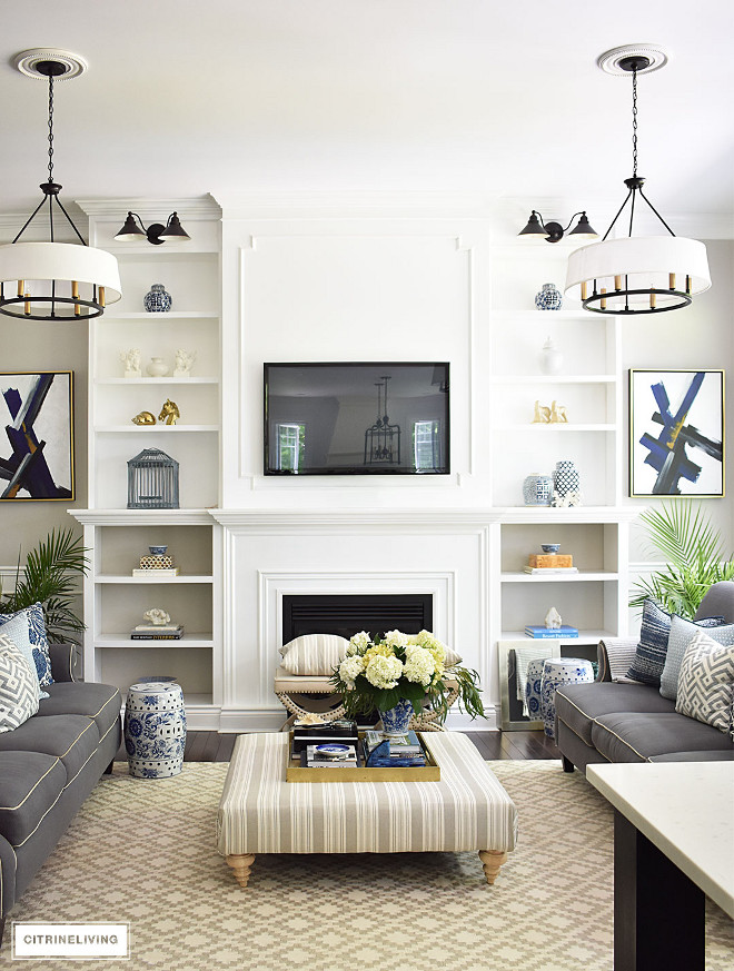 living-room-with-drum-shade-chandeliers-fireplace-sconces Beautiful Homes of Instagram @citrineliving Home Bunch