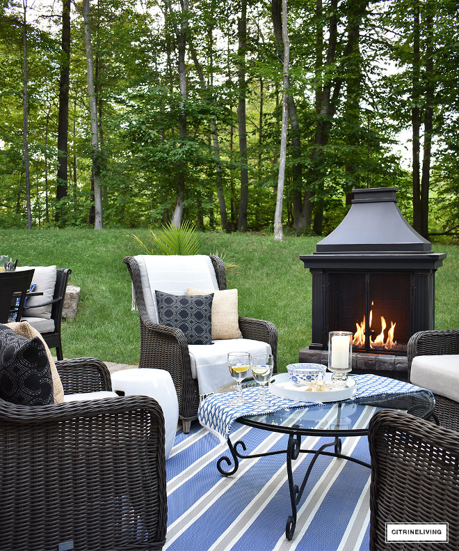 outdoor-patio-fireplace-wicker-seating-lounge-conversation-area Beautiful Homes of Instagram @citrineliving Home Bunch