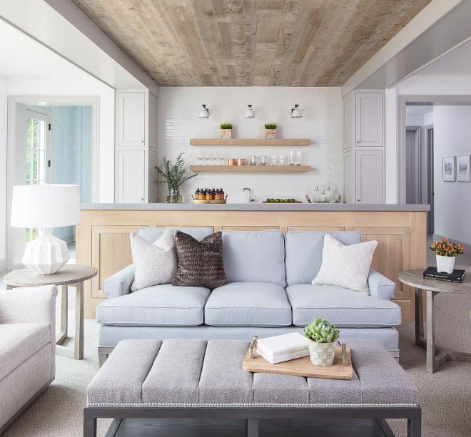 Basement with white oak bar and reclaimed shiplap ceiling. Chic Hamptons-inspired basement with White Oak bar and shiplap ceiling. Basement with white oak bar and reclaimed shiplap ceiling #Basement #Basementbar #whiteoak #bar #reclaimedshiplap #shiplap #ceiling Martha O'Hara Interiors