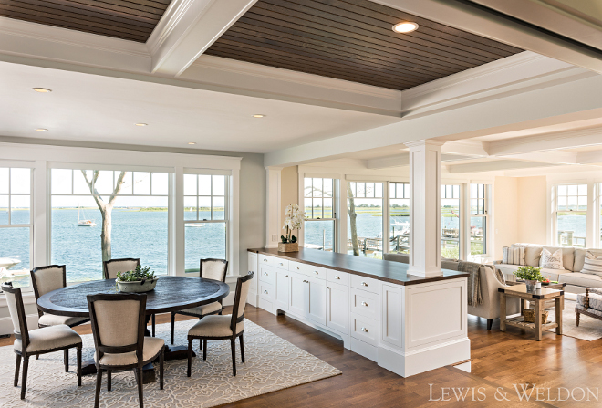 Beach house dining room living room design. Walls - Benjamin Moore Wickham Grey. Beach house dining room living room design. Beach house dining room living room design #Beachhouse #diningroom #livingroom #design #BenjaminMooreWickhamGrey Lewis & Weldon Custom Kitchens