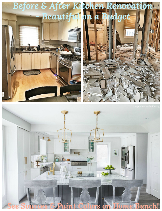 Before and after kitchen renovation on a budget. See paint colors, decor sources and more kitchen renovation pictures on Home Bunch