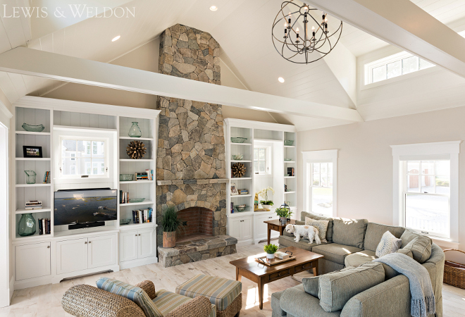 Benjamin Moore OC 20 Pale Oak. Great room with stone fireplace and neutral walls painted in Benjamin Moore OC 20 Pale Oak. Benjamin Moore OC 20 Pale Oak #BenjaminMooreOC20PaleOak Lewis & Weldon Custom Kitchens