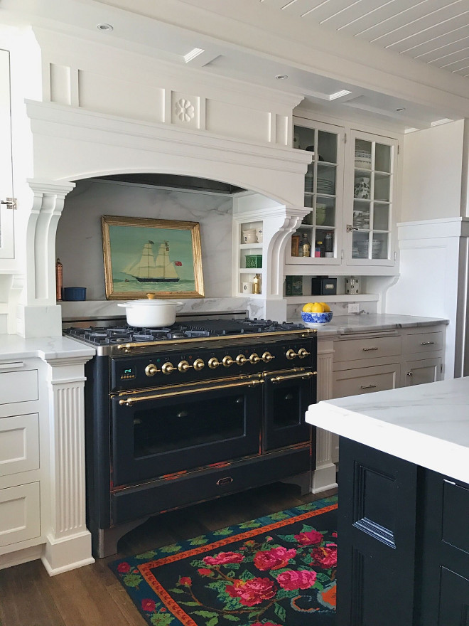Black and brass stove is ILVE and I love its form and function. Beautiful Homes of Instagram @SweetShadyLane