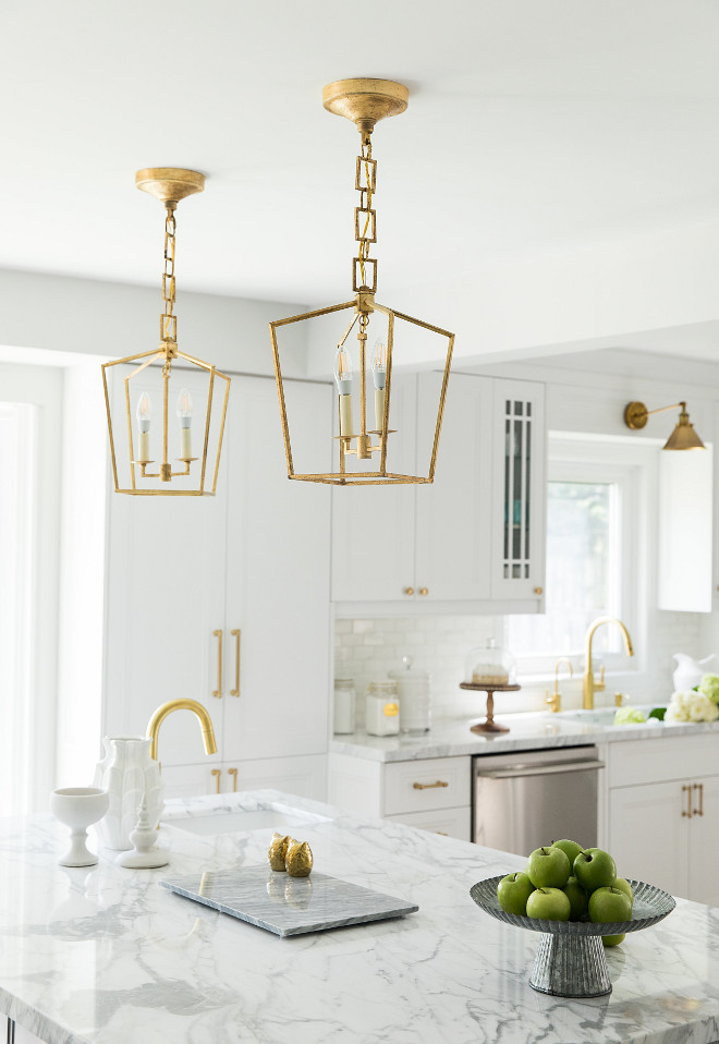 Brushed Brass Lantern Pendant Light. Brushed Brass Lantern Pendant Light. Kitchen with Brushed Brass Lantern Pendant Lights #BrushedBrassLanterns #PendantLight #BrushedBrasslights #BrushedBrasspendants #BrushedBrasslanterns Simply Beautiful Eating