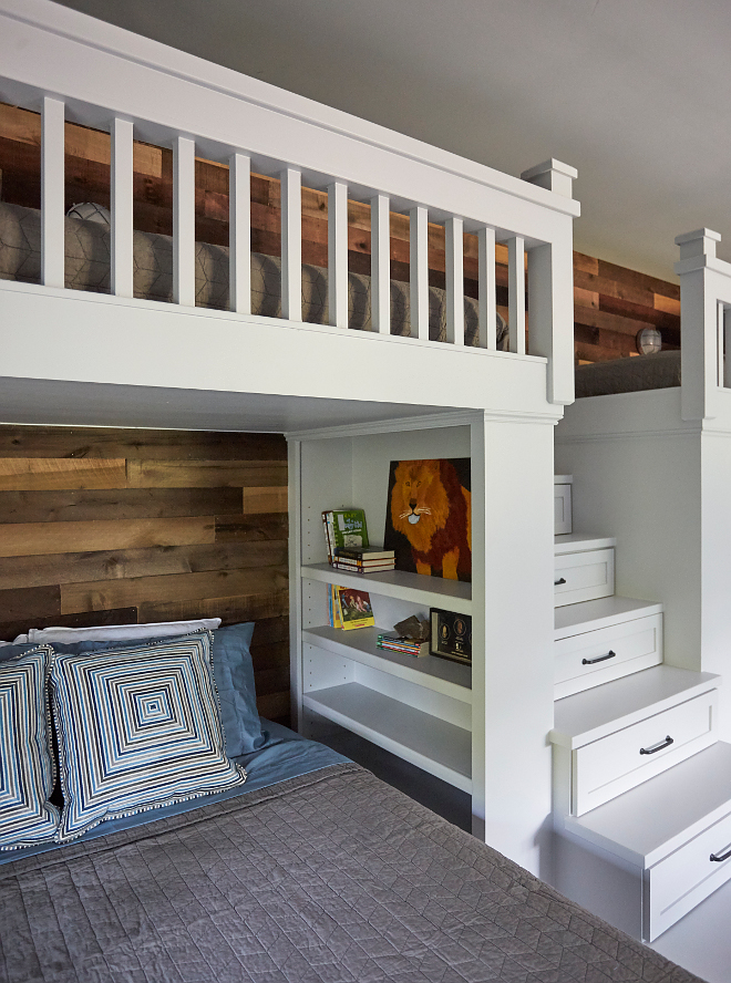 Bunk Bed with storage drawer staircase to upper bunk beds. Creative built in stairs to upper bunk beds. Bunk Bed with storage drawer staircase to upper bunk beds. v. Bunk Bed with storage drawer staircase to upper bunk beds. #BunkBed #storagedrawerstaircase #bunkroom Morning Star Builders