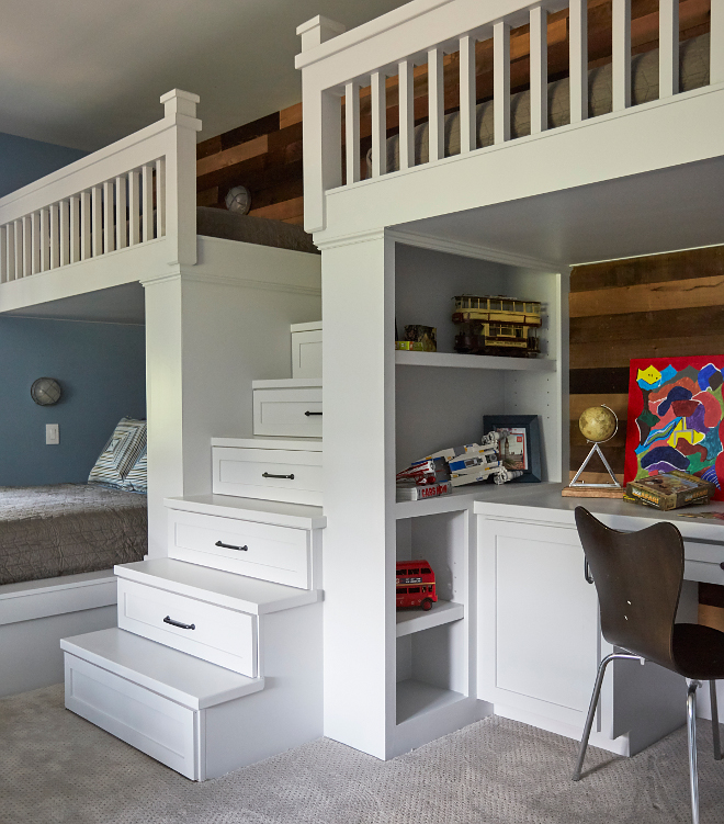 Bunkbed built in ladder. This fun bunk room features built-in bunk beds, desk area and reclaimed shiplap. Bunkbed built in ladder. Bunkbed built in ladder. Bunkbed built in ladder. Bunkbed built in ladder #Bunkbedladder Morning Star Builders