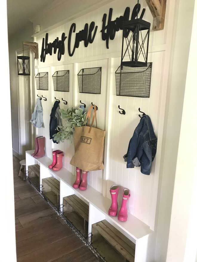 DIY Farmhouse Mudroom Hallway School Drop Zone. DIY Farmhouse Mudroom Hallway School Drop Zone. DIY Farmhouse Mudroom Hallway School Drop Zone. DIY Farmhouse Mudroom Hallway School Drop Zone #DIYFarmhouseMudroom #Hallway #SchoolDropZone #DropZone Home Bunch Beautiful Homes of Instagram @cottonstem
