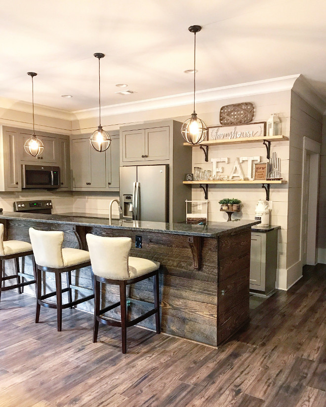 Farmhouse Basement Bar. Farmhouse Basement Bar with shiplap peninsula. Farmhouse Basement Bar. Farmhouse Basement Bar #shiplap #fixerupper #Farmhouse #Basement #Bar #shiplappeninsula Home Bunch Beautiful Homes of Instagram @mygeorgiahouse