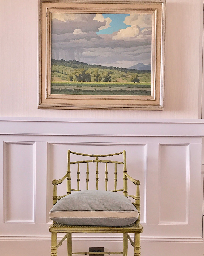 Hall. Classic hall millwork, art and chair. #hall Beautiful Homes of Instagram @SweetShadyLane