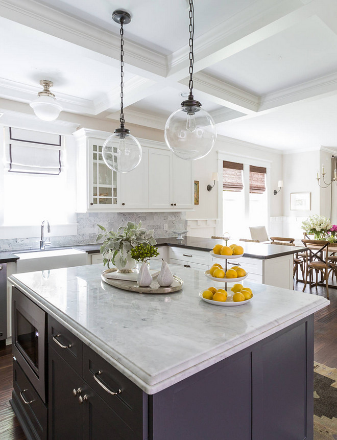 Island edge profile. Kitchen Island edge profile. The island countertop is Honed Carrara Marble with Ogee Edge.  Island edge profile #Island #edgeprofile Marie Flanigan Interiors