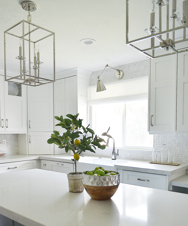 Kitchen Lighting. Kitchen Lighting. Polished Nickel Kitchen Lighting. Kitchen island lighting Kitchen window lighting #kitchen #lighting #kitchenlighting #kitchenislandlighting #kitchenwindowlighting Sita Montgomery Interiors