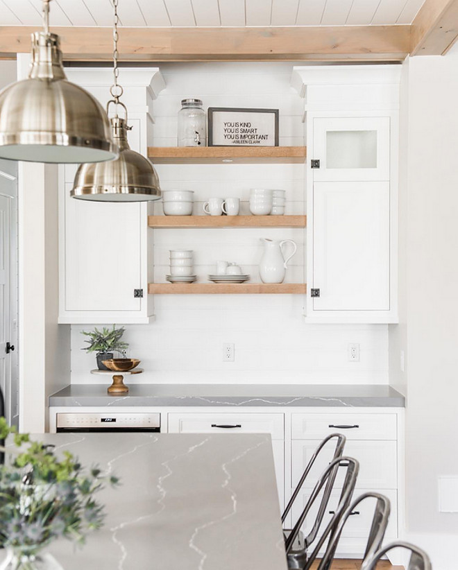 Kitchen bar cabinet with chunky white oak open shelves. Millhaven Homes