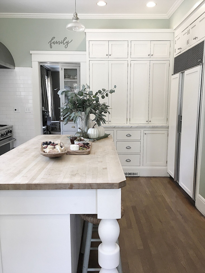 "Kitchen island countertop. Kitchen island: Custom built, 72""l, 36""w, 38""h, butcher block top. Kitchen island countertop. Kitchen island countertop. #Kitchenislandcountertop Beautiful Homes of Instagram @my100yearoldhome"