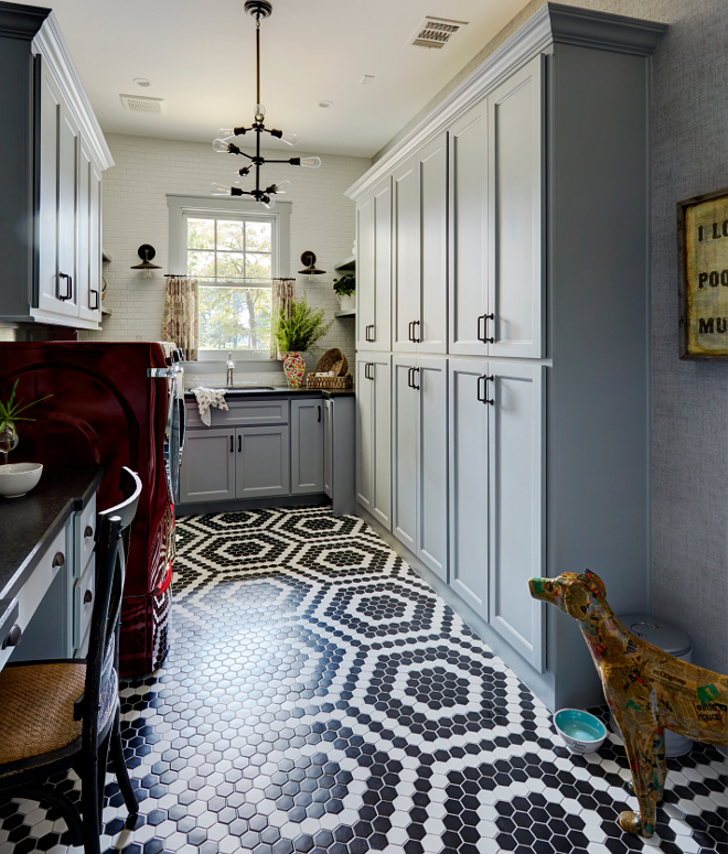 Laundry Room Flooring. Laundry Room Flooring. Flooring is a combination of black and white hex tile. Laundry Room Durable Flooring #LaundryRoom #Flooring #LaundryRoomflooring #Durableflooring Morning Star Builders