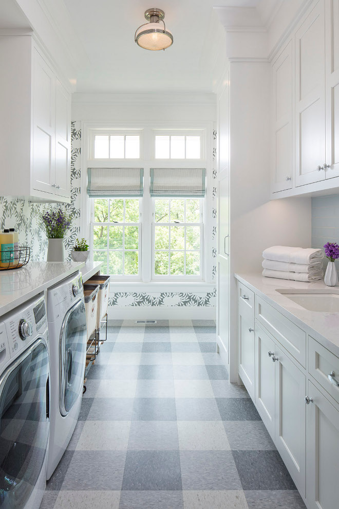 Laundry room plaid floor. Hamptons laundry room gets a farmhouse feel with this plasid floor. Laundry room plaid floor. Laundry room plaid floor. Laundry room plaid floor #Laundryroom #plaidfloor Martha O'Hara Interiors