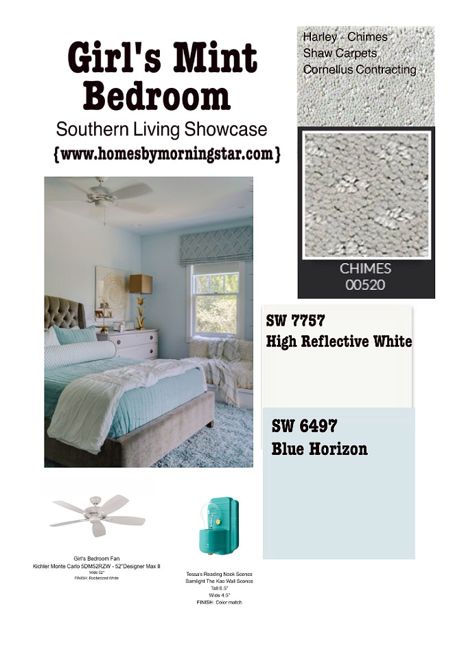 Light turquoise Bedroom paint color and decor Sherwin Williams Blue Horizon. Morning Star Builders