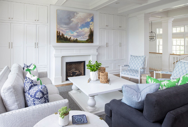 Living room shaker cabinets. Living room shaker cabinets and white Balustrade Square Coffee Table. Living room shaker cabinets. Living room shaker cabinets surrounds fireplace #Livingroom #shakercabinets Martha O'Hara Interiors
