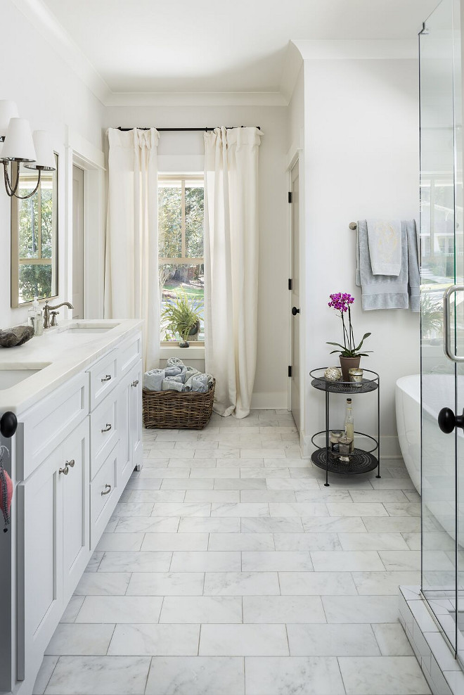 Marble Bathroom Floor Tile. The bathroom floor tile is 6x12 Arabescato Carrara marble tile. The bathroom floor tile is Arabescato Carrara marble tile. Willow Homes