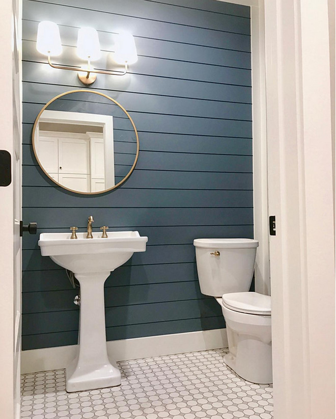 Navy shiplap paint color. Philipsburg Blue by Benjamin Moore Navy Blue shiplap Navy shiplap paint color. The shiplap on the wall is painted with Philipsburg Blue by Benjamin Moore. Navy Blue shiplap #Navyshiplap #paintcolor #NavyBlueshiplap #PhilipsburgBluebyBenjaminMoore Millhaven Homes