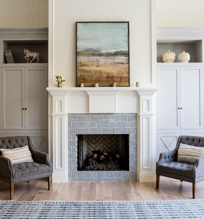 Patterned Fireplace Tile. The fireplace patterned tile is Pratt Larson 5x10 Sgraffito DPW5 with indigo. Patterned Fireplace Tile. Patterned Fireplace Tile. Patterned Fireplace Tile #PatternedFireplaceTile #patternedtile Caitlin Creer Interiors. C. S. Cabinetry & Design
