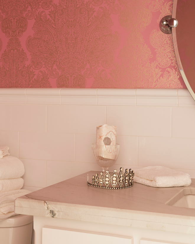 Pink Bathroom. Girls pink and white bathroom #girlsbathroom #pinkandwhitebathroom #pinkbathroom Morning Star Builders