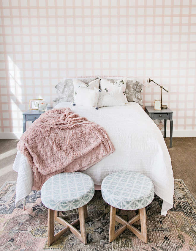 Plaid Wallpaper. Pale Pink Plaid Wallpaper. Girls' bedroom with Pale Pink Plaid Wallpaper. Pale Pink Plaid Wallpaper. Girl's bedroom with pale pink plaid wallpaper by Stagg Design Shop Brushstroke Plaid Wallpaper - Ballet Pink. #PalePink #PlaidWallpaper #plaid Sita Montgomery Interiors