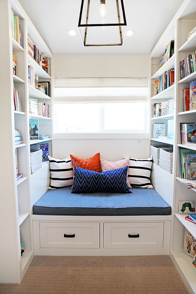 Reading Nook with bookshelves. Reading Nook with bookshelves. Reading Nook with bookshelves. Reading Nook with bookshelves #ReadingNook #bookshelves Millhaven Homes. Caitlin Creer Interiors.
