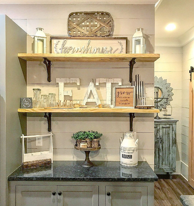 Farmhouse Kitchen Shelves and shiplap backsplash. Rustic Farmhouse Kitchen Shelves and shiplap backsplash. Fixer Upper Farmhouse Kitchen Shelves and shiplap backsplash #Rustic #ficerupper #FarmhouseKitchen #Shelves #shiplapbacksplash Home Bunch Beautiful Homes of Instagram @mygeorgiahouse