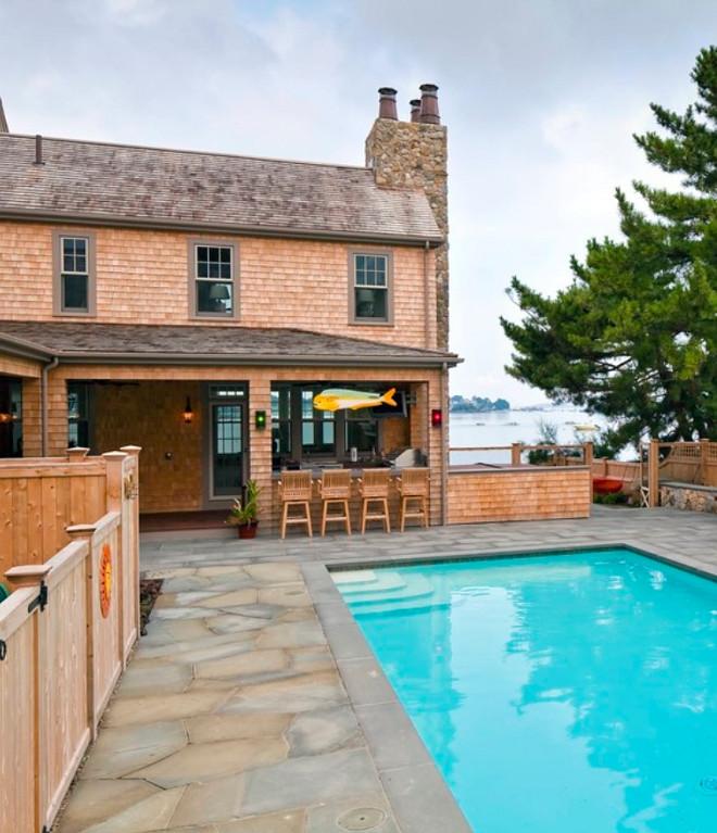 Shingle home pool backyard. Sean Papich Landscape Architecture