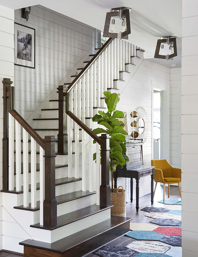 Shiplap stairway. The dark hardwood floors beautifully contrast against the crisp white shiplap walls. Shiplap paint color is Sherwin Williams SW 7757 Reflective White. Shiplap stairway. Shiplap stairway. Shiplap stairway. Shiplap stairway. Shiplap stairway. Shiplap stairway #Shiplapstairway #Shiplap #stairway Morning Star Builders