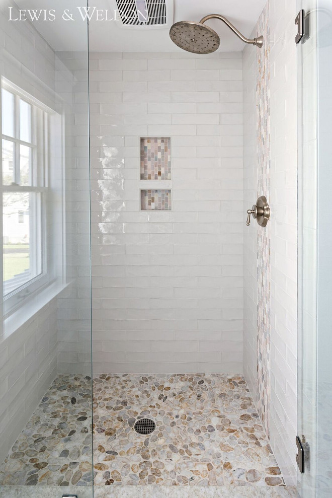 Shower Tile 3x12 hand-made White Crackled ceramic Tile. Shower Tile 3x12 hand-made White Crackled tile glossy, hand-painted appearance and irregular edges add to its rich, old-world look. #showertile #shower #ShowerTiles #3x12tile #handmadetile #WhiteCrackledsubwaytile Lewis & Weldon Custom Kitchens