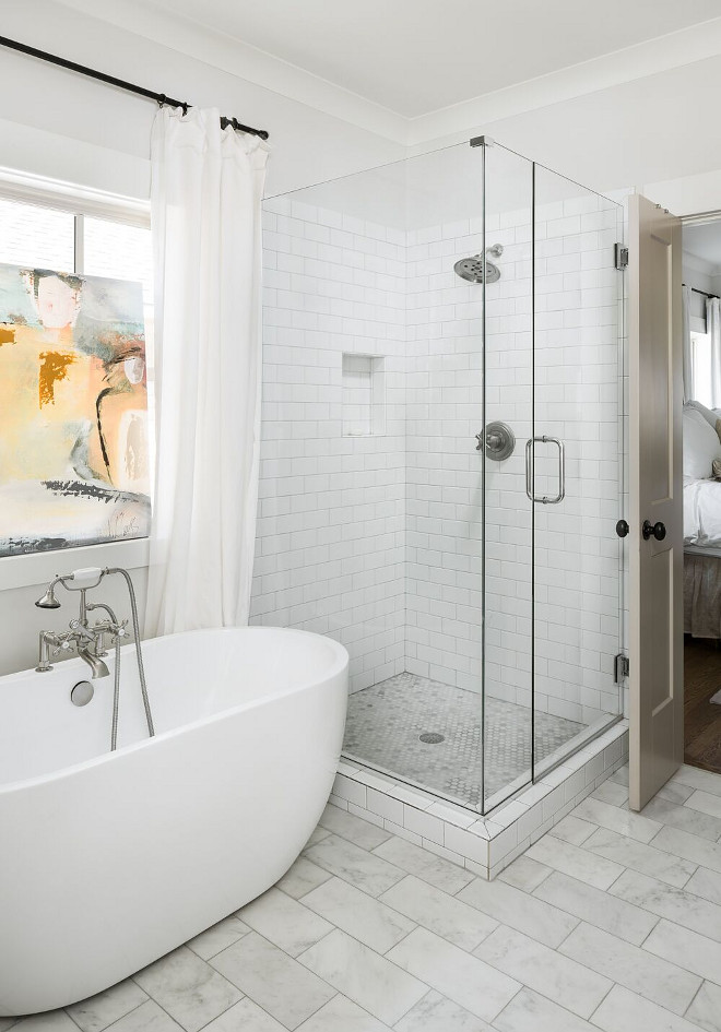 Shower tile ideas. Shower Walls/niche- 3x6 semplice white subway. Floor- Arabescato Carrara Hexagon Mosaic Tile. Willow Homes