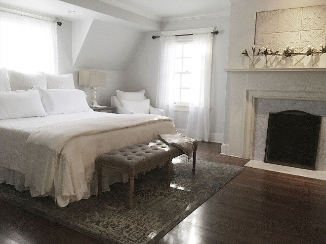 Soothing white bedroom paint color Behr Pixel White. Beautiful Homes of Instagram @my100yearoldhome