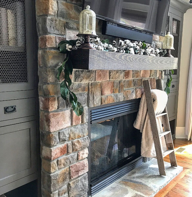 Stone Fireplace with timber wood mantel. Premier Stone Products in the ruble style in the color Sierra. Home Bunch Beautiful Homes of Instagram @mygeorgiahouse