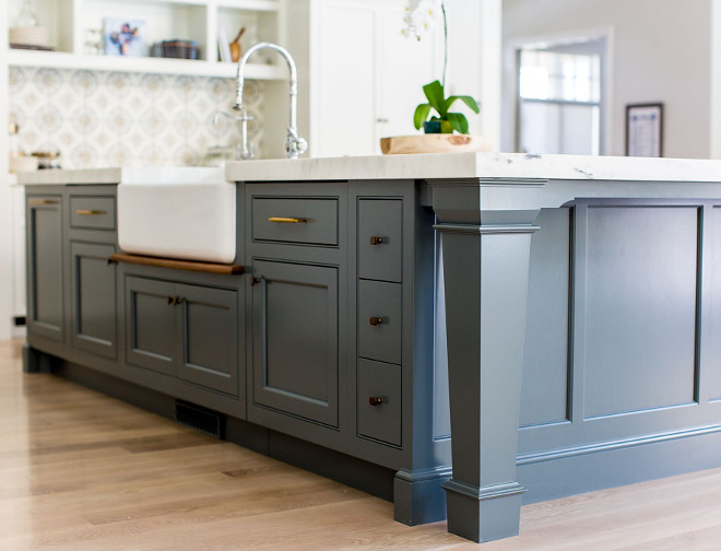 "Thick island leg. Thick island leg. Square island leg. The bottom of the leg is 4.75"" and the top is 7.5"" Thick island leg. Thick island leg #Thickislandleg #islandleg # Squareislandleg Caitlin Creer Interiors. C. S. Cabinetry & Design"