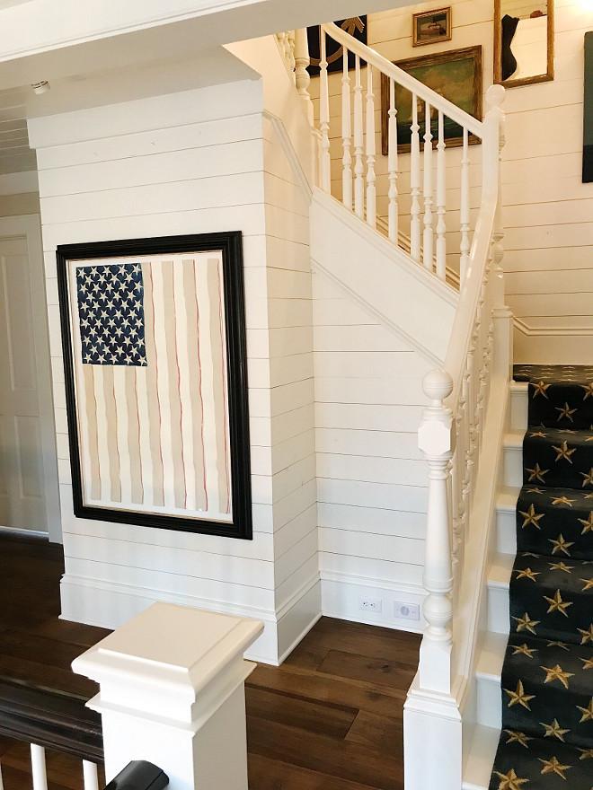 Vintage American Flag. Framed Vintage American Flag surrounded by shiplap. Vintage American Flag. Vintage American Flag #VintageAmericanFlag #framedVintageAmericanFlag Beautiful Homes of Instagram @SweetShadyLane