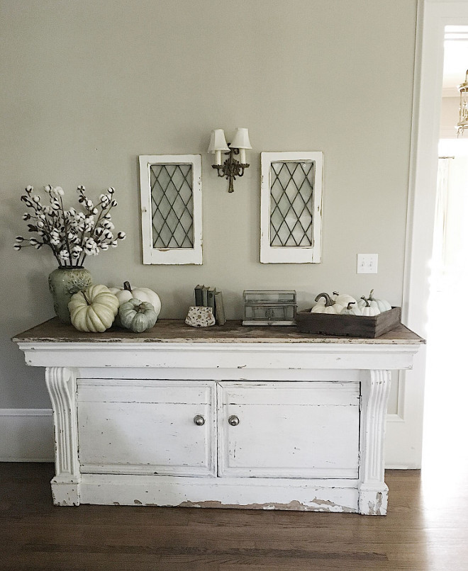 Vintage Console. I recently found this incredible general store counter and I do think it is my favorite piece of all of the items in our home! Vintage console, distressed, painted in a crisp white. Beautiful Homes of Instagram @my100yearoldhome