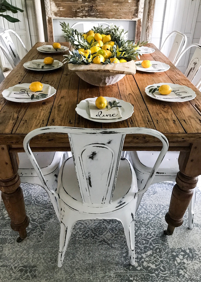 Vintage Farmhouse Table. Vintage farm table dating back 150 years, and we purchased it from the original owner's grandchildren. The original owners' initials are carved into the table. #vintagefarmhosuetable #farmhousetable Home Bunch Beautiful Homes of Instagram @cottonstem