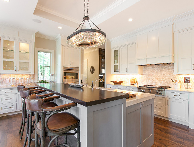 White Kitchen with greywashed island. White Kitchen with greywashed island. Neutral kitchen with off-white cabinets and greywashed island. White Kitchen with greywashed island. White Kitchen with greywashed island #WhiteKitchen #greywashedisland Great Neighborhood Homes