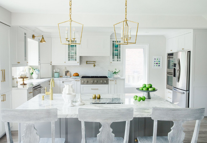 White kitchen with white and turquoise decor, brass lighting and brass hardware. White kitchen with white and turquoise decor, brass lighting and brass hardware. White kitchen with white and turquoise decor, brass lighting and brass hardware. White kitchen with white and turquoise decor, brass lighting and brass hardware #Whitekitchen #whiteandturquoisedecor #brasslighting #brasshardware Simply Beautiful Eating