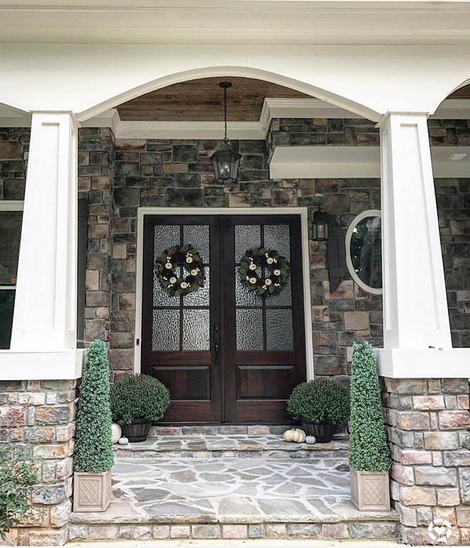 Wood and stone Tapered Porch Columns. Wood and stone Tapered Porch Columns. Wood and stone Tapered Porch Columns, Wood and stone Tapered Porch Columns, Wood and stone Tapered Porch Columns #Woodandstone #TaperedPorchColumns Home Bunch Beautiful Homes of Instagram @mygeorgiahouse