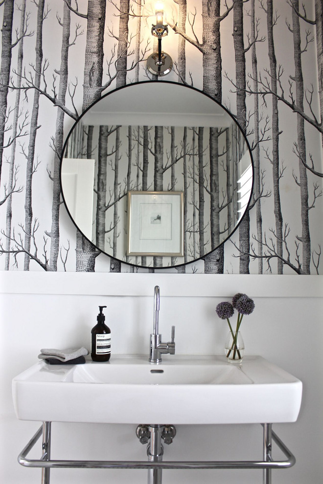 Farmhouse Powder Room with black and white wallpaper and a round metal mirror. Farmhouse Powder Room with black and white wallpaper and a round metal mirror. Farmhouse Powder Room with black and white wallpaper and a round metal mirror. Farmhouse Powder Room with black and white wallpaper and a round metal mirror #FarmhousePowderRoom #blackandwhitewallpaper #roundmetalmirror Beautiful Homes of Instagram @urban_farmhouse_build