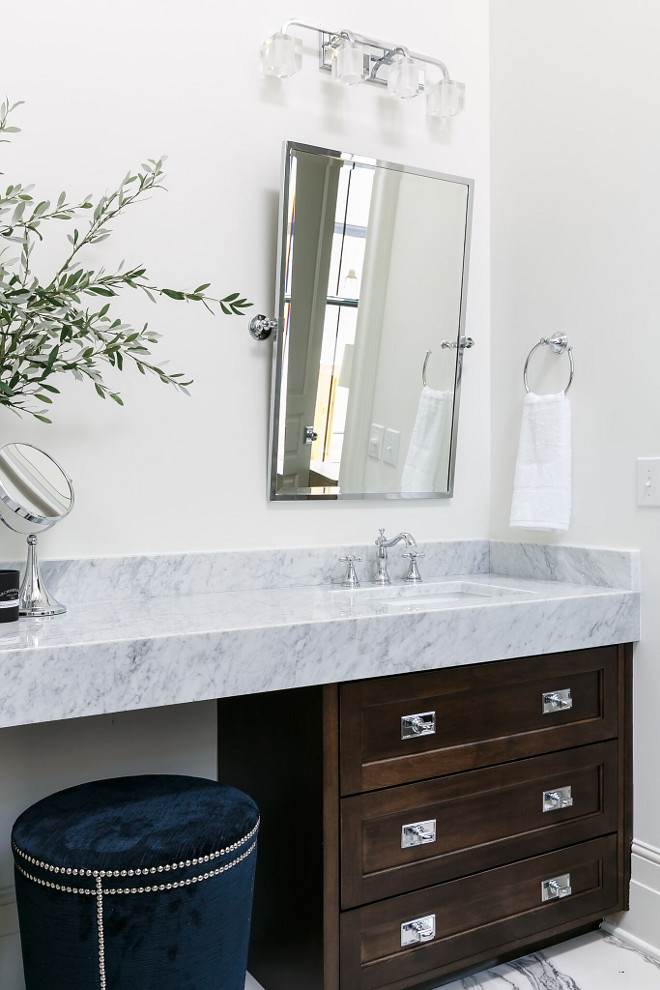 Bathroom vanity hardware. Bathroom vanity hardware ideas. Vanity Details: Stained maple vanity with espresso stain. Cabinetry: Flush inset drawers. Countertop is Carrara Marble Polished Bathroom vanity hardware #Bathroom #vanity #hardware Ramage Company
