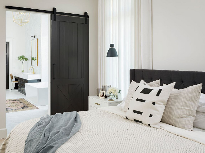 Bedroom Barn Door. Bedroom Barn Door. A dark stained barn door opens to the master ensuite. Bedroom Barn Door. Bedroom Barn Door. Bedroom Barn Door #Bedroom #BarnDoor A Finer Touch Construction