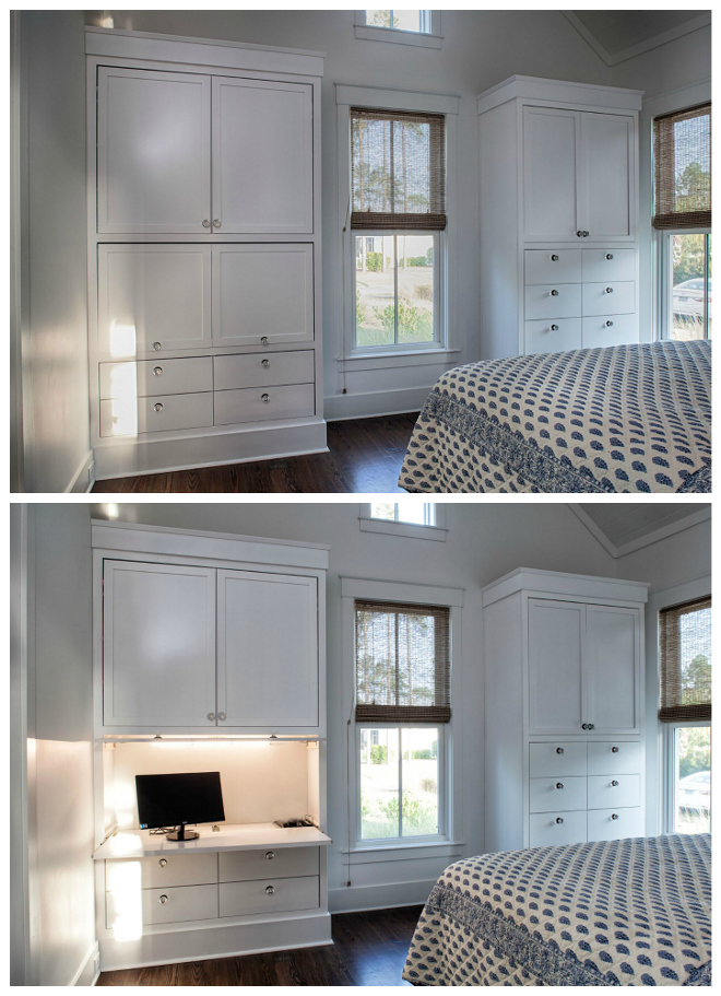 Bedroom built in ideas. When guests come or it is bedtime, we push it all in and close the retractable door so we have a nice, clean look - no wires, no monitors, etc! This is one of my favorite things. Barefoot Interiors Lisa Furey