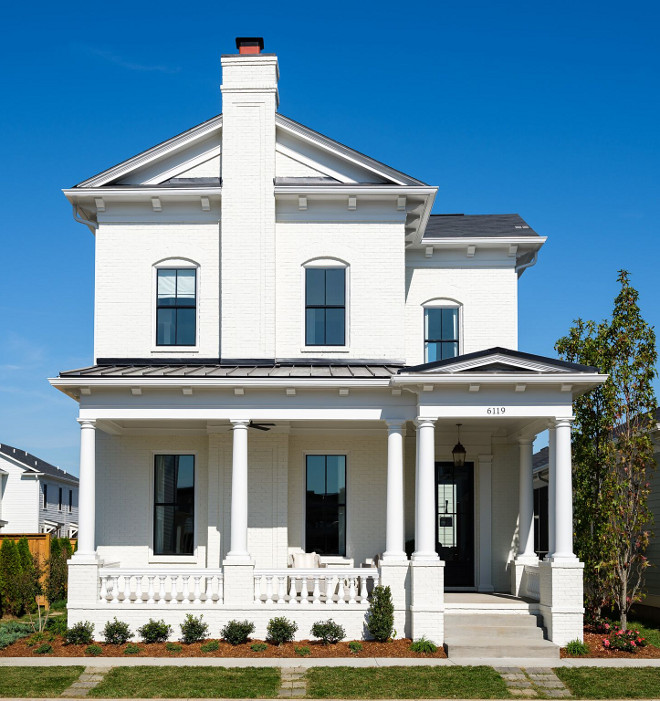 Benjamin Moore OC-45 Swiss Coffee. White Brick Exterior Paint Color. Benjamin Moore OC-45 Swiss Coffee is a great white to paint exterior brick #BenjaminMooreOC45SwissCoffee Ramage Company