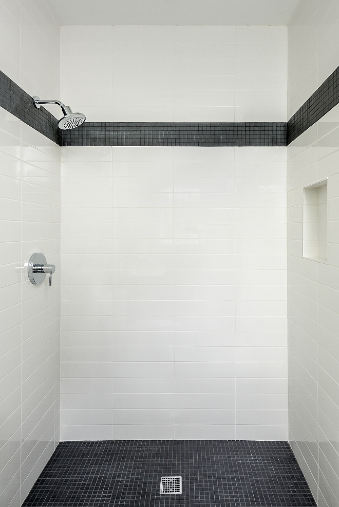 Black and White Shower Tile Black and White, Wall tiles are 4 x 16 subway tile Floor & accent tile is a classic black matte mosaic tile Shower Tile Combination Black and White Shower Tile #BlackandWhiteShowerTile #BlackandWhiteTile