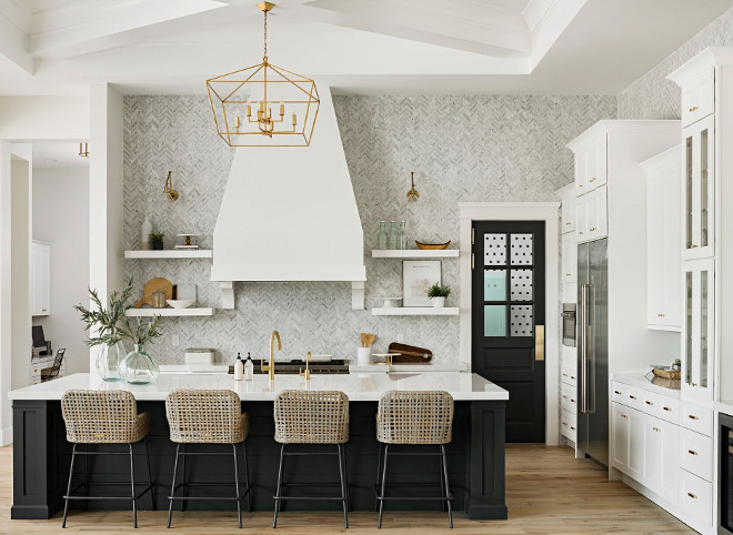 Black and white kitchen. Black and white kitchen. Counterstools are Bailey Woven Stool from Ballard Designs. Black and white kitchen. Black and white kitchen. Black and white kitchen #Blackandwhitekitchen A Finer Touch Construction
