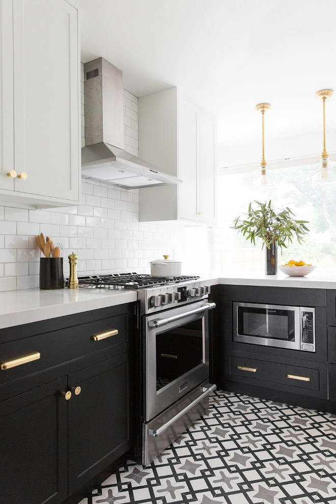 Black and white two toned kitchen. Black and white two toned kitchen with black and white cement tile Black and white two toned kitchen Black and white two toned kitchen #Blackandwhite #twotonedkitchen